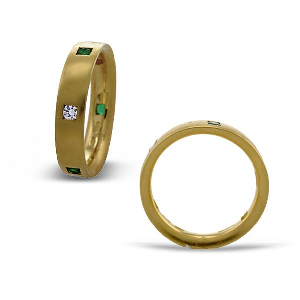 18k Satin Yellow Gold Emerald and Diamond Ring