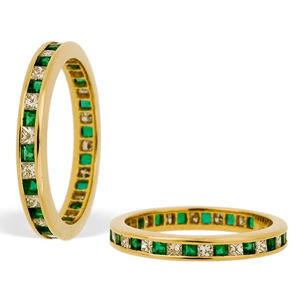 Emerald and Diamond Channel Set Eternity Band