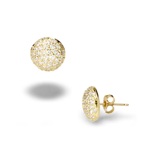 18k Yellow Gold and Diamond Button Earrings