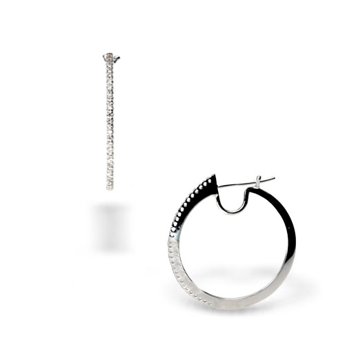 18k White Gold and Diamond Hoops