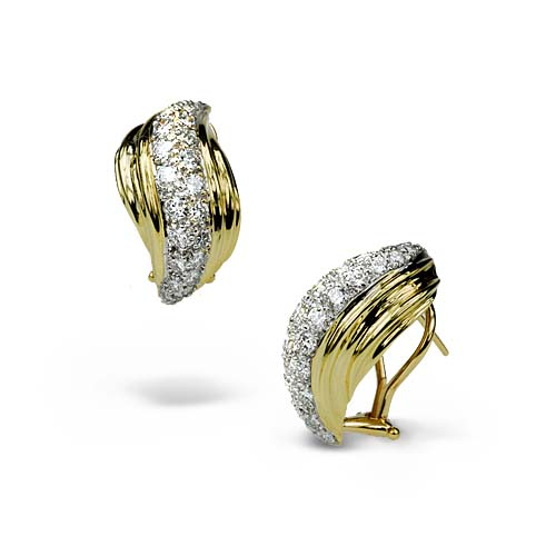 Two-toned and Pave Diamond Earrings