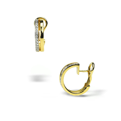 Two-Toned Earrings with Diamonds