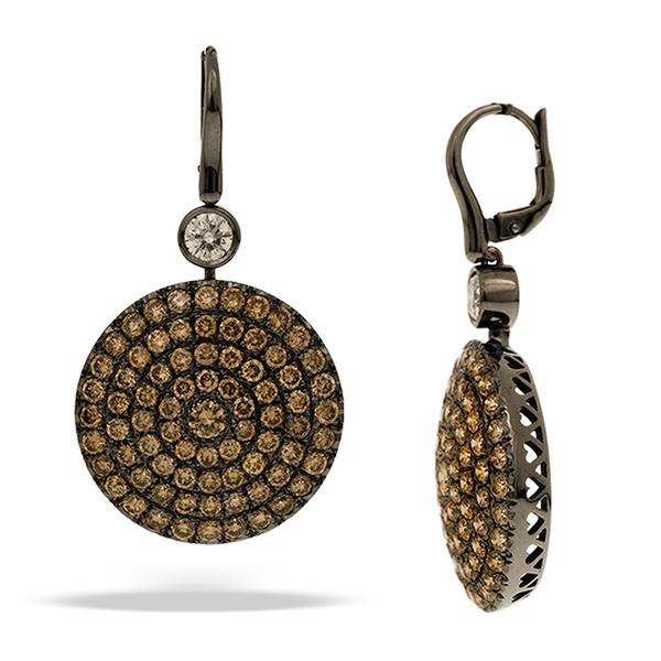 Cirvelli Brown and White Diamond Disk Earrings