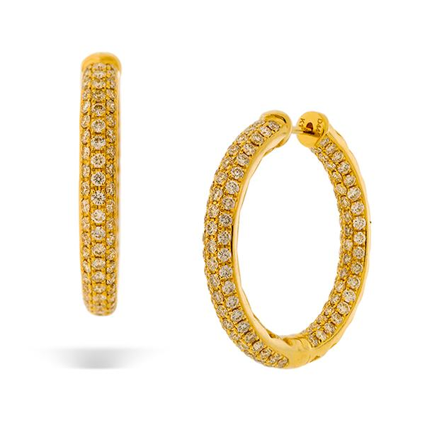 18k Yellow Gold 4mm x 33mm Pave (4.41ct.) Diamond Round Hoop