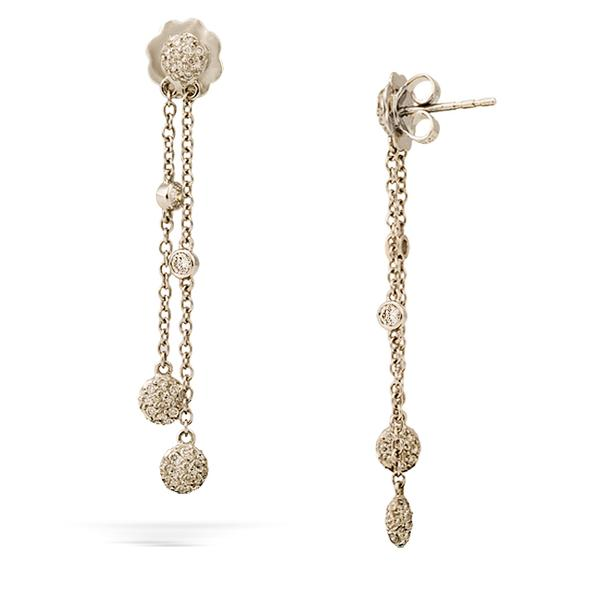 Pave Diamond and 18k Dangle Earrings