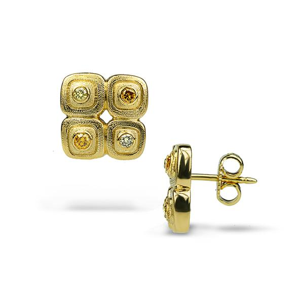 18KY DIAMOND PEPBLE STUDS WITH NATURAL COLOR DIA'S