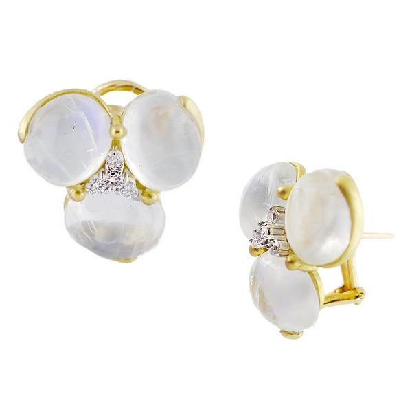 18KT YELLOW GOLD MOONSTONE EARRINGS