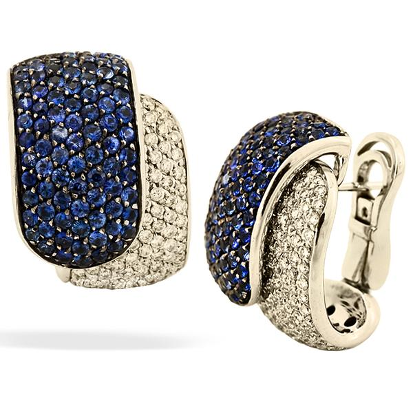 Damiani Earrings w/ Blue Sapphire and Diamonds
