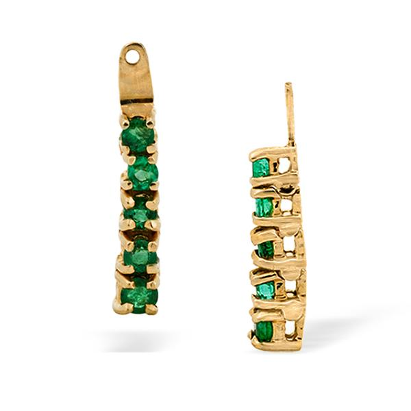 Earring Jackets 14k Yellow Gold with Emeralds