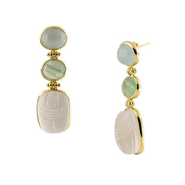 18KT. OVAL AQUAMARIE AND CHRSOPHASE EARRINGS.