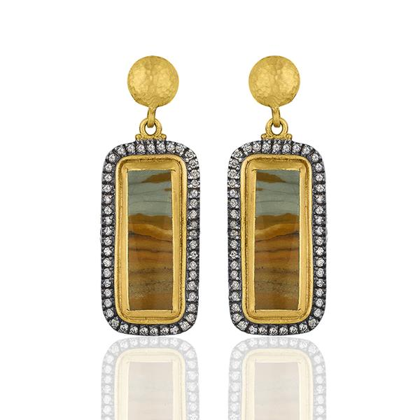 24KT.Gold & Oxidized Silver Wild West Owyhee Jasper Earrings with Champagne Diamonds.