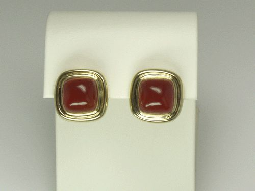 18k Yellow Gold and Coral Earrings