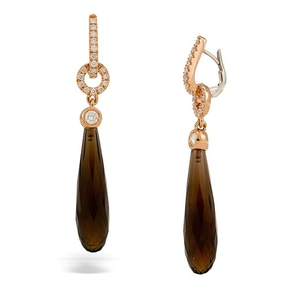 Crivelli 18k Pink Gold and Teardrop Smokey Quartz Earrings
