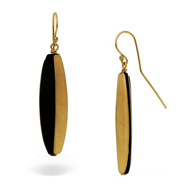 18KT OBLONG BLACK ONYX EARRINGS