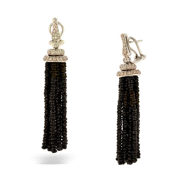 18k WG Black Spinel Tassle Earrings 1.50cts. Pave' Diamonds