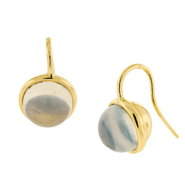 18KT. MOON QUARTZ BAUBLE EARRINGS ON FRENCH WIRE