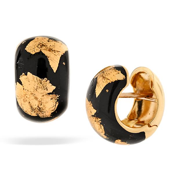 SOHO Huggy 18k and Black Enamel Earrings