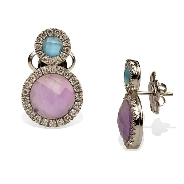 Topaz, Amethyst and Diamond Earrings