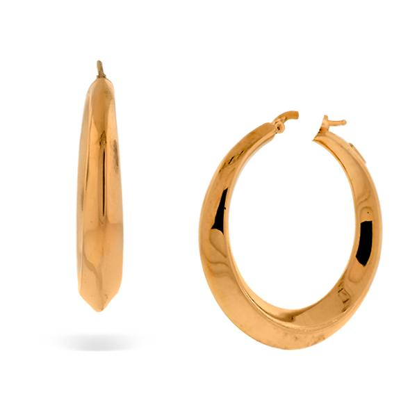 18k Pink Gold Round Beveled Edge Hoops (38mm)