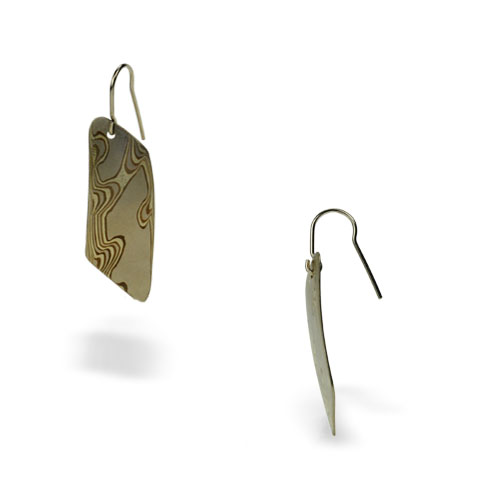 18k Mokume Dangle-Mist Earrings
