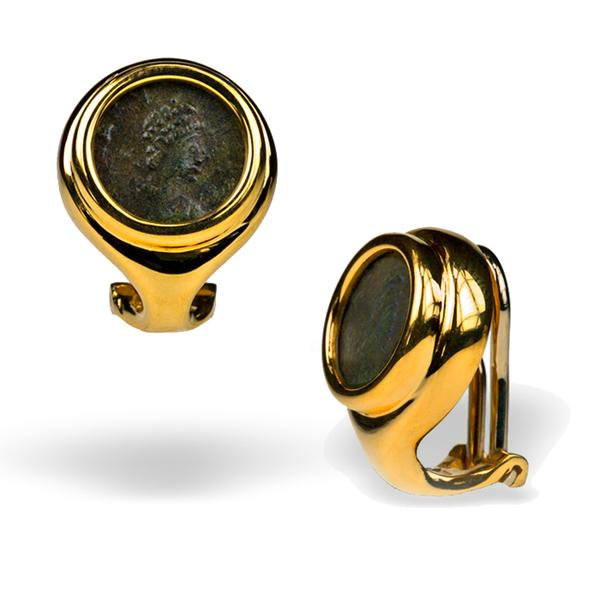 15mm Double Bezel Coin Earrings with 18k Yellow Gold