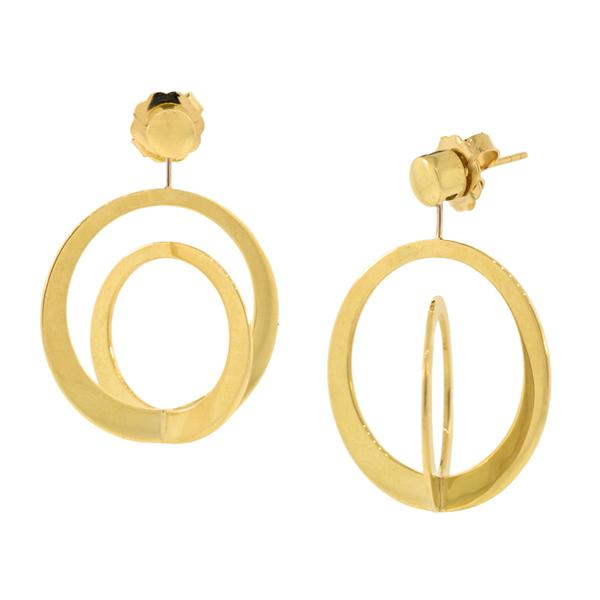 Two Toned Disk Earring Jackets 18k Hp Yg Sakamoto Spiral