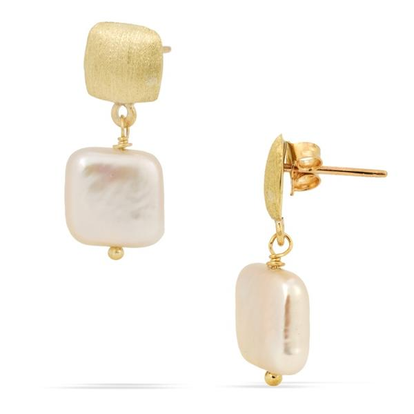 18k Yellow Gold and Pearl Earrings