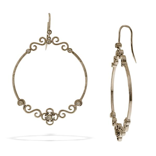Leslie Greene Sterling Silver Hoops w/ Diamonds