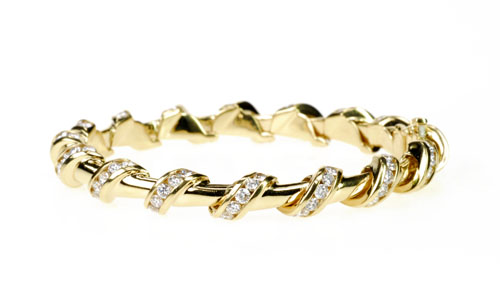 Charles Krypell 18k Yellow Gold and Diamond Bracelet