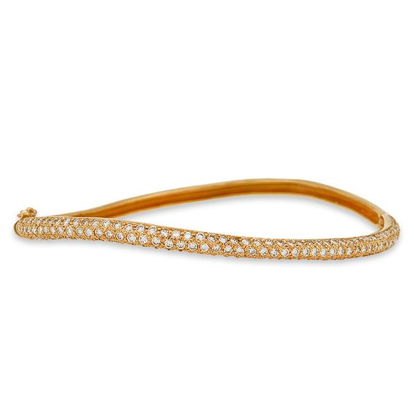 Pink Gold and Pave Diamond Wave Bracelet