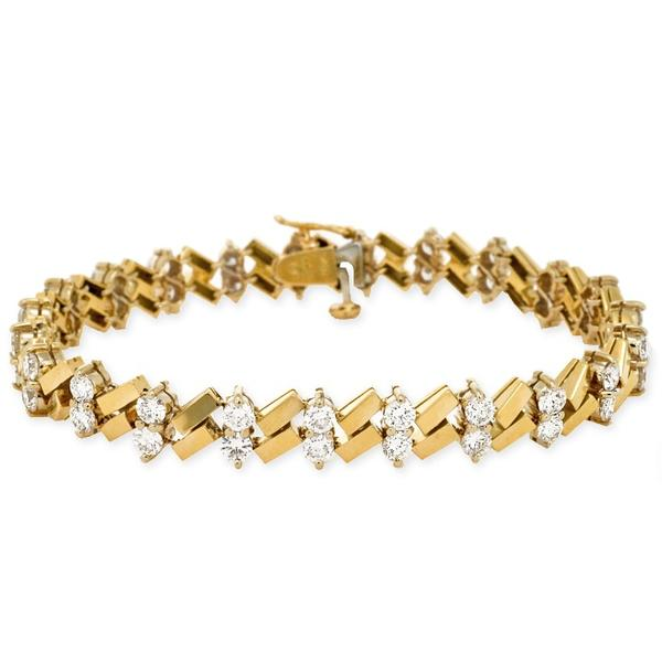 ZigZag Design Bracelet 18k Yellow Gold and Diamonds
