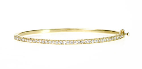 18k Yellow Gold and Diamond Bangle