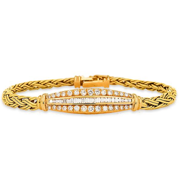 Woven Gold and Diamond Bracelet