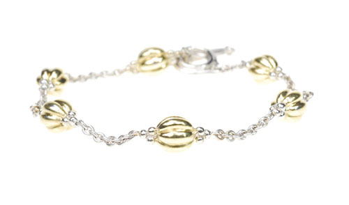 Charles Krypell 18k Two Toned and Toggel Bracelet