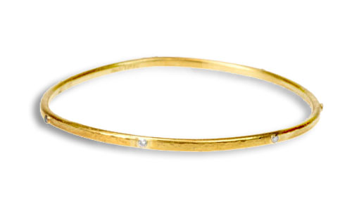 Gurhan 24k Hammered Bangle with Diamonds