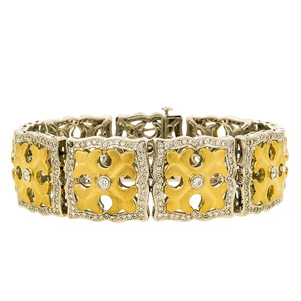 Charles Krypell 18k Two Toned and Diamond Bracelet