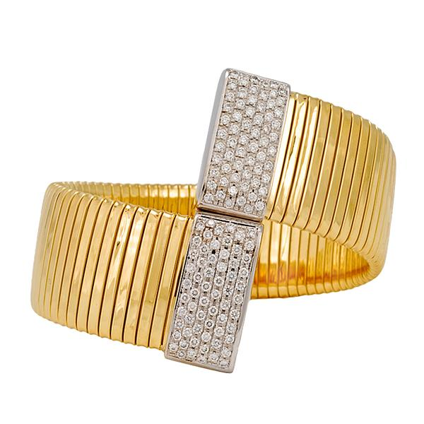 18k Gold Ribbed Cuff with Diamonds