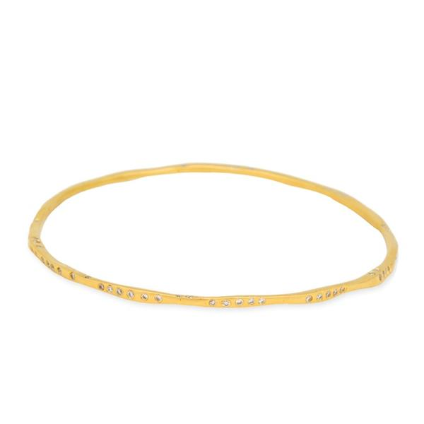 18k Yellow Gold Twisted Bangle w/ Diamonds
