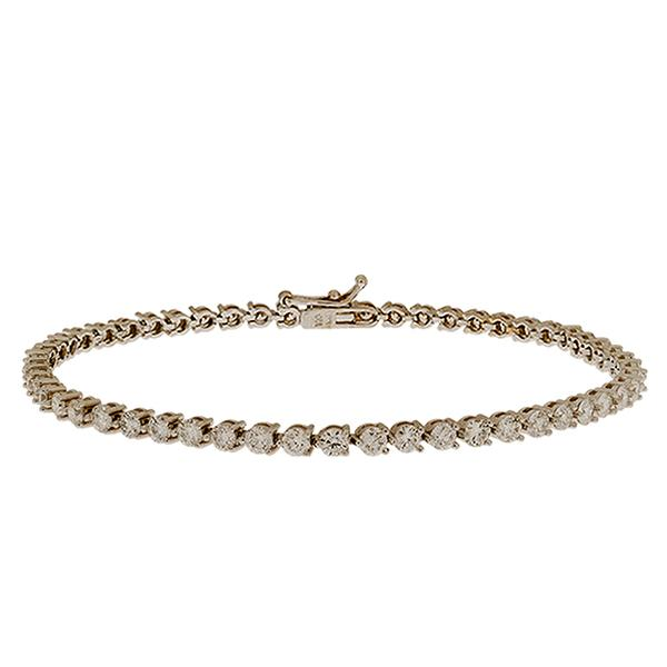 18K WHITE GOLD LINE BRACELET WITH THREE PRONG ROUND DIAMONDS