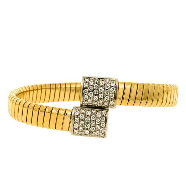 18 Gold Bypass Cuff with Pave Set Diamonds