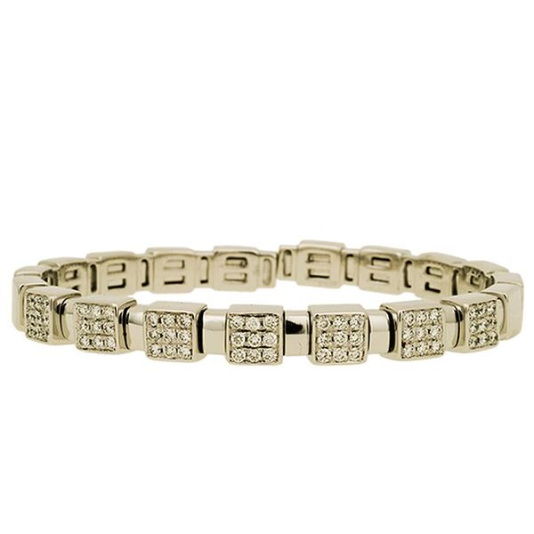 18k White Gold Flex Bracelet w/ Diamonds