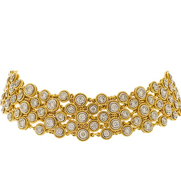 Mesh 18k Yellow Gold and Bezel Set Diamond Bracelet