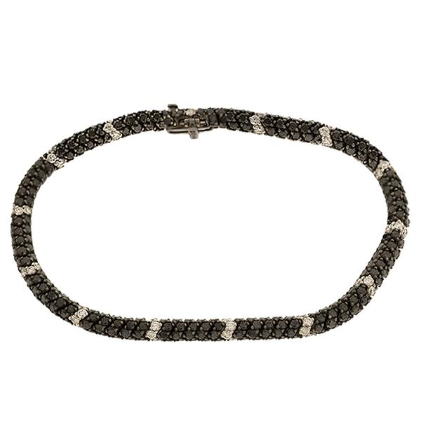 Black and White Diamond ZigZag Bracelet