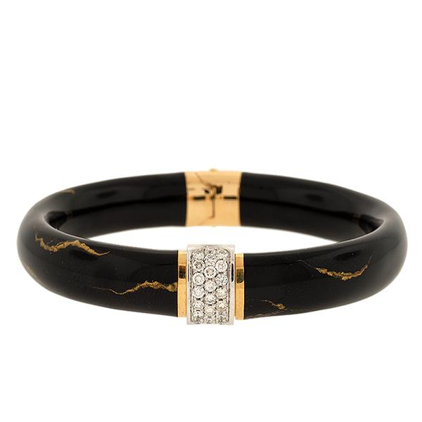 18k YG Black Enamel 11mm Bangle Pave' Dias 0.66cts. Gold Striation