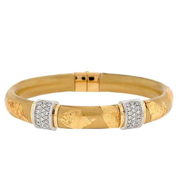 18k YG 11mm Flat Gold Leaf Bangle 1 18k YG 11mm Flat Gold Leaf Bangle Pave Diamonds