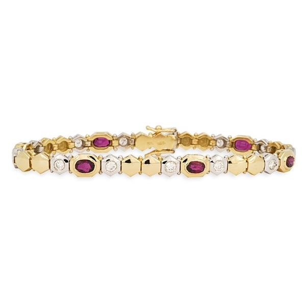 Ruby and Diamond bracelet w/ Two-Tone