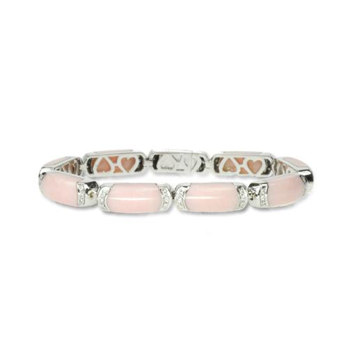 Pink Agate and Diamond Bracelet