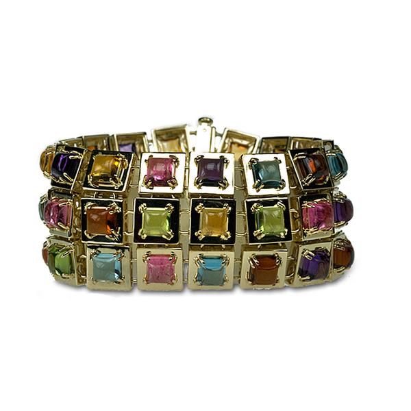 Semi-Precious Mix 18k Yellow Gold Bracelet