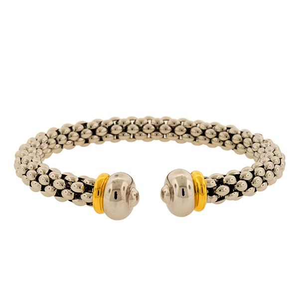 8mm 18k Round Woven Cuff & Round Ends with Yellow Gold Band