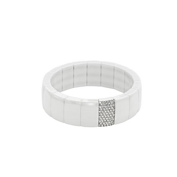WHITE CERAMIC RECTANGULAR BRACELET. WITH 1.OOCT. DIAMONDS SET IN 18KT WHITE GOLD.